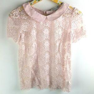 Blush Pink Lace Shirt Sz M